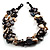 3 Strand Antique White & Black Shell - Composite Bead Necklace - view 2