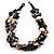 3 Strand Antique White & Black Shell - Composite Bead Necklace - view 5