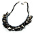 Black Simulated Pearl & Shell Bead Cord Necklace (Silver Tone) - view 3