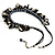 Black Simulated Pearl & Shell Bead Cord Necklace (Silver Tone) - view 4