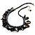 Black Simulated Pearl & Shell Bead Cord Necklace (Silver Tone) - view 6