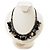 Black Simulated Pearl & Shell Bead Cord Necklace (Silver Tone) - view 2