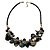 Black & White Shell Composite Charm Leather Style Necklace (Silver Tone)