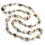 Long Shell Composite & Imitation Pearl Bead Silver Tone Necklace (120cm)