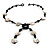 Glass & Shell Bead Tassel Necklace (Black & White) - view 6