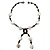Glass & Shell Bead Tassel Necklace (Black & White) - view 1