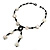 Glass & Shell Bead Tassel Necklace (Black & White) - view 8