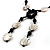Glass & Shell Bead Tassel Necklace (Black & White) - view 3