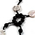 Glass & Shell Bead Tassel Necklace (Black & White) - view 9