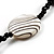 Glass & Shell Bead Tassel Necklace (Black & White) - view 4