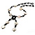 Glass & Shell Bead Tassel Necklace (Black & White) - view 10