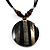 Round Stripy Shell Cotton Cord Pendant Necklace - view 1