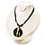 Round Stripy Shell Cotton Cord Pendant Necklace - view 3