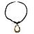 Teardrop Mother of Pearl Cotton Cord Pendant Necklace - view 5