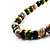 Wood Bead Necklace (White, Brown, Green & Black) - 74cm Length - view 6