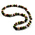 Wood Bead Necklace (White, Brown, Green & Black) - 74cm Length - view 3