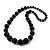 Black Wooden Bead Necklace - 70cm Length