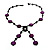 Glass & Shell Bead Tassel Necklace (Purple & Black) - view 3