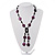 Glass & Shell Bead Tassel Necklace (Purple & Black) - view 1