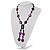 Glass & Shell Bead Tassel Necklace (Purple & Black) - view 10
