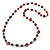 Red Long Shell Composite & Imitation Pearl Bead Silver Tone Necklace (120cm) - view 7