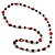 Red Long Shell Composite & Imitation Pearl Bead Silver Tone Necklace (120cm) - view 8