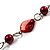 Red Long Shell Composite & Imitation Pearl Bead Silver Tone Necklace (120cm) - view 4