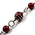 Red Long Shell Composite & Imitation Pearl Bead Silver Tone Necklace (120cm) - view 5