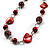 Red Long Shell Composite & Imitation Pearl Bead Silver Tone Necklace (120cm) - view 2