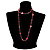 Red Long Shell Composite & Imitation Pearl Bead Silver Tone Necklace (120cm) - view 3