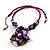Purple & Magenta Glass, Shell & Mother of Pearl Floral Choker Necklace (Silver Tone) - view 3