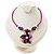 Purple & Magenta Glass, Shell & Mother of Pearl Floral Choker Necklace (Silver Tone) - view 2