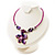 Purple & Magenta Glass, Shell & Mother of Pearl Floral Choker Necklace (Silver Tone) - view 9