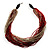 Chunky Multi-Strand Glass Bead Wood Necklace (Bright Red & Transparent/ White) - 58cm L - view 7