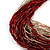 Chunky Multi-Strand Glass Bead Wood Necklace (Bright Red & Transparent/ White) - 58cm L - view 3