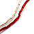 Chunky Multi-Strand Glass Bead Wood Necklace (Bright Red & Transparent/ White) - 58cm L - view 6
