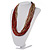 Chunky Multi-Strand Glass Bead Wood Necklace (Bright Red & Transparent/ White) - 58cm L - view 9