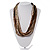 Chunky Multi-Strand Glass Bead Wood Necklace (Brown & Transparent/ White) - 58cm L - view 2
