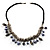 Silver Tone Link Charm Leather Style Necklace (Black & Lilac) - view 5