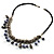 Silver Tone Link Charm Leather Style Necklace (Black & Lilac) - view 6