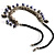 Silver Tone Link Charm Leather Style Necklace (Black & Lilac) - view 7