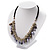 Silver Tone Link Charm Leather Style Necklace (Black & Lilac) - view 8