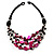 3 Strand Black, White & Magenta Shell & Bead Necklace - view 1