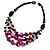 3 Strand Black, White & Magenta Shell & Bead Necklace - view 3