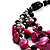 3 Strand Black, White & Magenta Shell & Bead Necklace - view 2