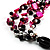 3 Strand Black, White & Magenta Shell & Bead Necklace - view 6