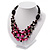 3 Strand Black, White & Magenta Shell & Bead Necklace - view 11