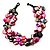 3 Strand Black & Magenta Shell - Composite Bead Necklace - view 6