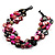 3 Strand Black & Magenta Shell - Composite Bead Necklace - view 3