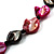 3 Strand Black & Magenta Shell - Composite Bead Necklace - view 4